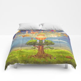 Little boy sitting on the tree and  reading a book, objects flying out Comforters