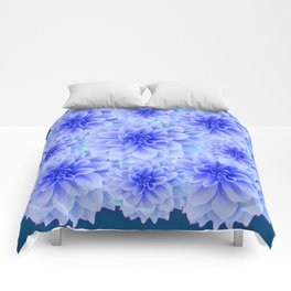 BLUE-WHITE DAHLIA FLOWERS IN  TEAL COLOR Comforters