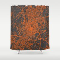austin Shower Curtains featuring Austin map by Map Map Maps