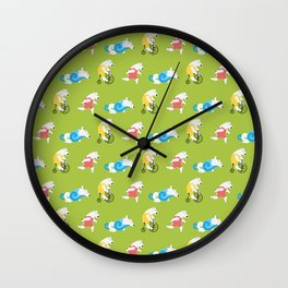 Polar Bear Triathletes Green Wall Clock