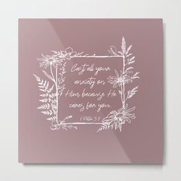 Cast Your Anxiety Wildflower Frame Bible Verse Metal Print