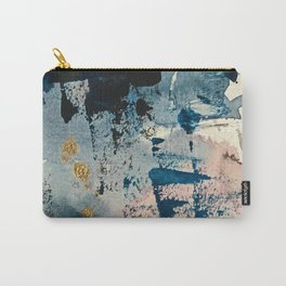 Pleiades: a minimal, abstract mixed media piece by Alyssa Hamilton Art in Pink, Gold, and Blue Carry-All Pouch