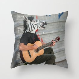 Zebra Man Guitar Throw Pillow