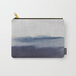 Plum Purple Navy Lavender Blue Abstract Painting Wall Art Prints, Ocean Waves Horizon, Modern Wall Carry-All Pouch