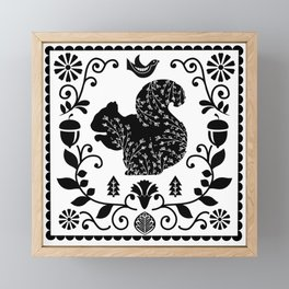 Woodland Folk Black And White Squirrel Tile Framed Mini Art Print