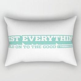 1 Thessalonians 5:21 – Bible Verse Typography Rectangular Pillow