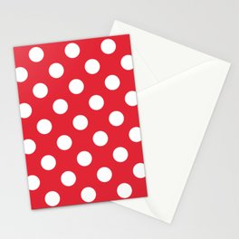Rose madder - red - White Polka Dots - Pois Pattern Stationery Cards