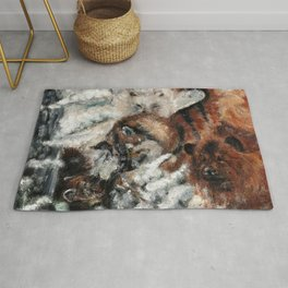 Sable marten hunting by dogs  Rug
