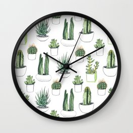 Watercolour Cacti & Succulents Wall Clock
