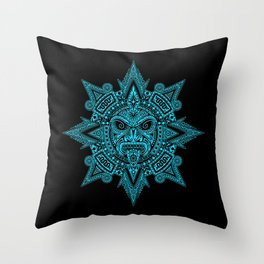 Ancient Blue and Black Aztec Sun Mask Throw Pillow