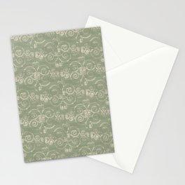 Farmhouse Scoll Diamond Ikat Pattern - Sage Ivory Stationery Cards
