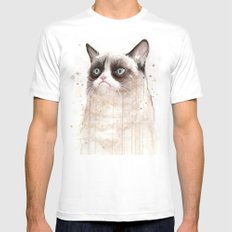Grumpy Watercolor Cat Geek Meme Whimsical Animals White Mens Fitted Tee LARGE
