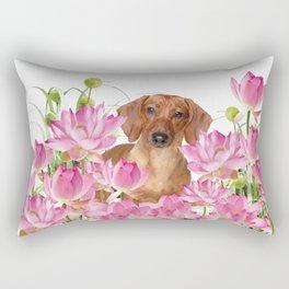 Dog in Field of Lotos Flower Rectangular Pillow