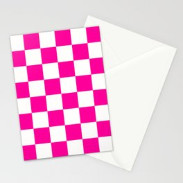 Pink and White Checkers Checkerboard Plaid Stationery Cards