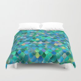 Summer Ocean Metal Mermaid Scales Duvet Cover