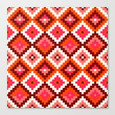 Aztec pattern-rose, orange, brown Canvas Print