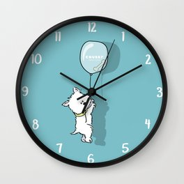 Hungry Westie Puppy Wall Clock