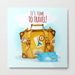 Travel Concept With Suitcase Metal Print