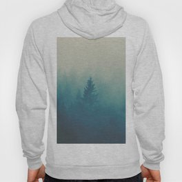 Misty Turquoise Blue Pine Forest Foggy Parallax Tree Landscape Silhouette Hoody