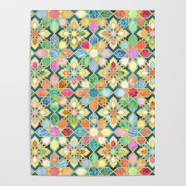 Gilded Moroccan Mosaic Tiles Poster