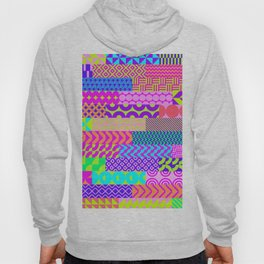 Modern geometrical abstract pink teal lime green stripes Hoody