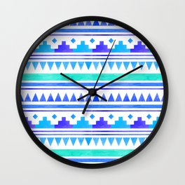 Seamless watercolor geometric pattern in native american style. Boho design Wall Clock