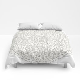 Gray Circle of Life Mandala on White Comforters