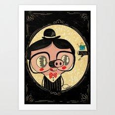 PIGnocchio and the blue fairy / pinocchio pig Art Print