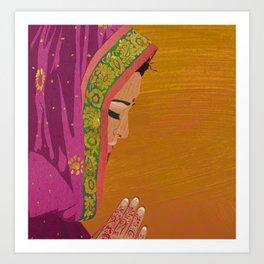 Henna Prayer Hands Art Print