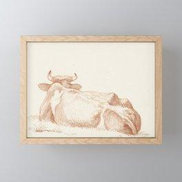 Vintage Cow Drawing Framed Mini Art Print
