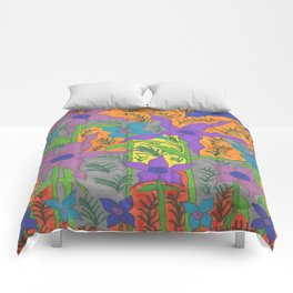 Violets in the Sky Boho Floral Comforters