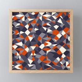 Fragmented geometrics - orange and grey shades Framed Mini Art Print