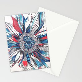 Flower Patterns on White Stationery Cards