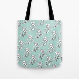 Duchess Teal White Flowers Tote Bag