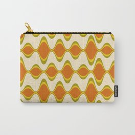 Retro Psychedelic Wavy Pattern in Orange, Yellow, Olive Carry-All Pouch