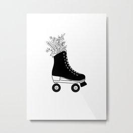 Black and White Botanical Floral Bouquet Roller Skate Metal Print
