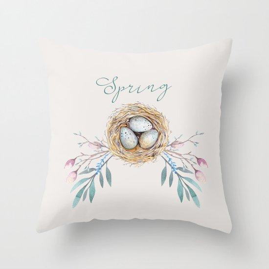 spring nest Throw Pillow