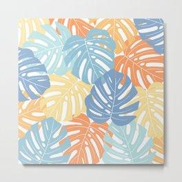 Monstera leaves Colorful Jungle leaves Palm leaves Tropical art Metal Print