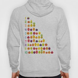 numbers for preschool kindergarten kids kawaii fruit from one to ten Hoody