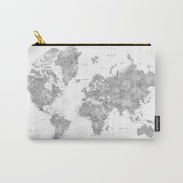 Grayscale watercolor world map with cities Carry-All Pouch
