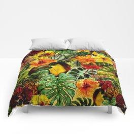 Tropical Vintage Exotic Jungle Flower Flowers - Floral watercolor pattern Comforters