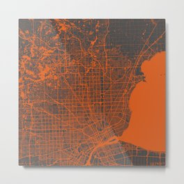 Detroit map orange Metal Print