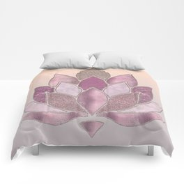 Elegant Glamorous Pink Rose Gold Lotus Flower Comforters