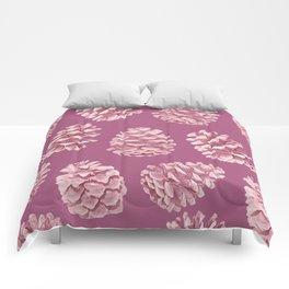 Blushing Deep Pine Cones Comforters