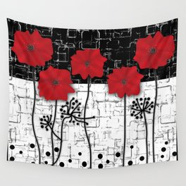 Retro. Red poppies on white background sulfur. Applique. Wall Tapestry
