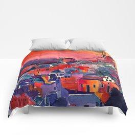 Sunset on Santorini Comforters