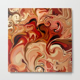 Marbled Abstract Red Sahara Desert Metal Print