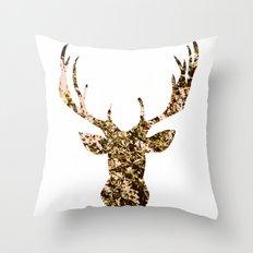 deer flowers Throw Pillow