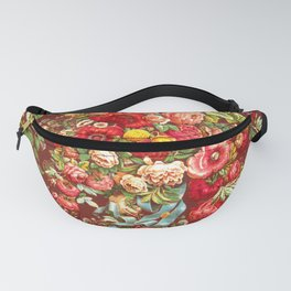Classic Burgundy Wine Floral Chintz Design Fanny Pack