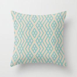 Aquamarine Beige Geometric Mosaic Pattern 3 Color of the Year Aqua Fiesta and Sourdough Throw Pillow